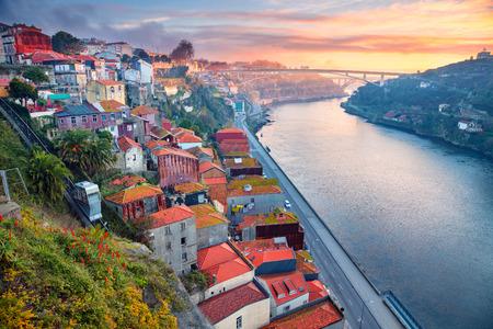 Porto, Portugal. Cityscape image of Porto, Portugal with Douro River during sunrise.