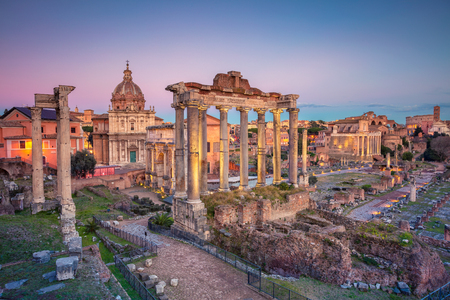 Roman Forum, Rome. Cityscape image of famous ancient Roman Forum in Rome, Italy during sunset. Stock Photo