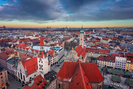 Munich. Aerial cityscape image of downtown Munich, Germany  during sunset. Stock Photo