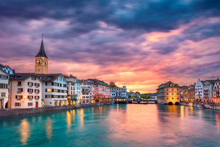 Zurich. Cityscape image of Zurich, Switzerland during dramatic sunset. Stock Photo