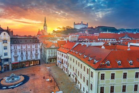 Bratislava. Aerial  cityscape image of historical downtown of Bratislava, capital city of Slovakia during sunset. Stock Photo - 119334800