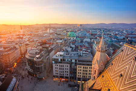 Vienna. Aerial cityscape image of Vienna capital city of Austria during sunset. Stock Photo