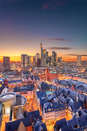 Frankfurt am Main, Germany. Aerial cityscape image of Frankfurt am Main skyline during beautiful sunset. Stock Photo - 119334801