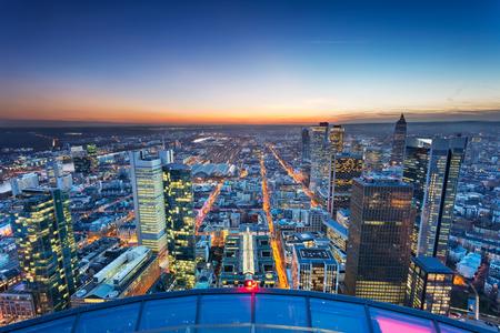 Frankfurt am Main, Germany. Aerial cityscape image of Frankfurt am Main skyline during beautiful sunset. Stock Photo - 119334811