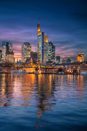 Frankfurt am Main, Germany. Cityscape image of Frankfurt am Main skyline during beautiful sunset. Stock Photo
