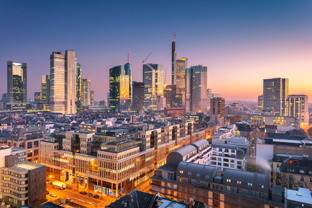 Frankfurt am Main, Germany. Aerial cityscape image of Frankfurt am Main skyline during beautiful sunrise. Stock Photo - 119334812
