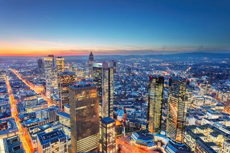Frankfurt am Main, Germany. Aerial cityscape image of Frankfurt am Main skyline during beautiful sunset. Stock Photo - 119334816