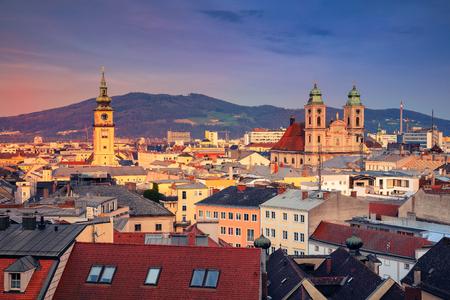 Linz, Austria. Aerial cityscape image of Linz, Austria during sunset.