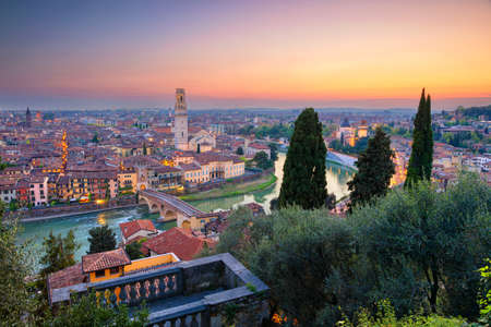 Verona, Italy. Cityscape image of Verona, Italy during sunset.
