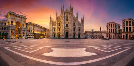 Milan, Italy. Panoramic cityscape image of Milan, Italy with Milan Cathedral during sunrise. Stock Photo