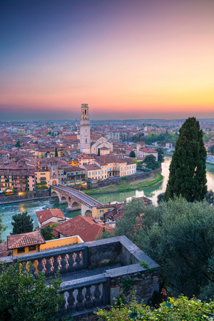 Verona, Italy. Cityscape image of Verona, Italy during sunset.