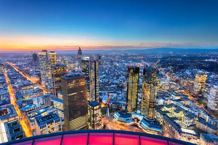 Frankfurt am Main, Germany. Aerial cityscape image of Frankfurt am Main skyline during beautiful sunset.