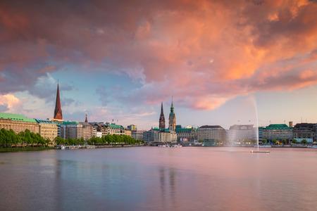 Hamburg, Germany. Cityscape image of Hamburg skyline during beautiful sunset.
