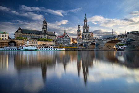 Cityscape image of Dresden, Germany with reflection of the city in the Elbe river, during sunset, Dresden, Germany. Stock Photo