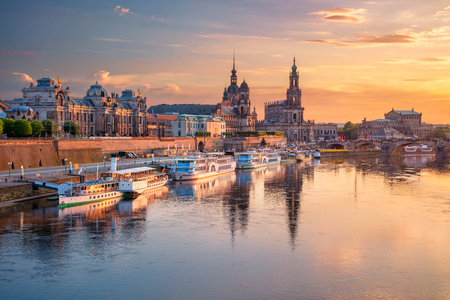 Cityscape image of Dresden, Germany with reflection of the city in the Elbe river, during sunset, Dresden, Germany. Stock Photo - 124209422