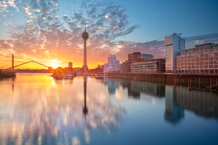 Dusseldorf, Germany. Dusseldorf, Germany with the Media Harbor in the Rhine river, during sunrise, Dusseldorf, Germany.