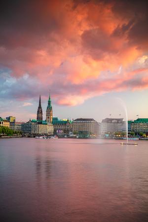Cityscape image of Hamburg downtown with City Hall during sunset, Hamburg, Germany.