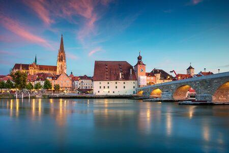 Regensburg, Germany. Cityscape image of Regensburg, Germany during twilight blue hour.