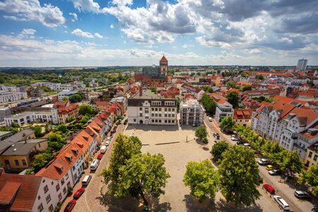 Rostock, Germany. Aerial cityscape image of Rostock, Germany during sunny summer day. Stock Photo