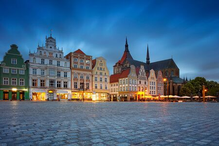 Rostock, Germany. Cityscape image of Rostock, Germany during twilight blue hour. Stock Photo