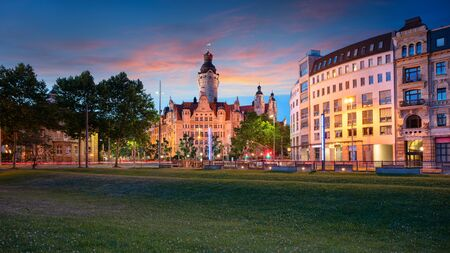 Leipzig, Germany. Cityscape image of Leipzig downtown with New Town Hall during beautiful sunset.