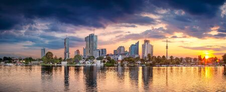 Panoramic cityscape image of Vienna capital city of Austria during sunset. Stock Photo