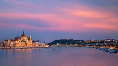 Panoramic cityscape image of Budapest, capital city of Hungary during twilight blue hour. Stock Photo