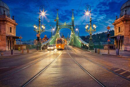 Liberty Bridge, Budapest. Cityscape image of Budapest with Liberty Bridge during twilight blue hour.