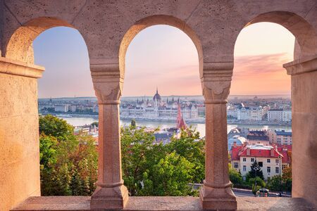 Budapest, Hungary. Cityscape image of Budapest with parliament building during summer sunrise. Stock Photo - 130555800