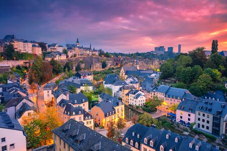 Luxembourg City, Luxembourg. Aerial cityscape image of old town Luxembourg City skyline during beautiful sunrise. Stock Photo - 132057010