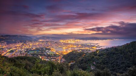 La Spezia, Italy. Cityscape image of La Spezia, Cinque Terre, Italy, during dramatic sunrise.