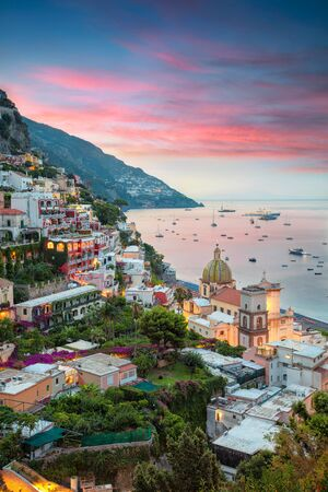 Positano. Aerial image of famous city Positano located on Amalfi Coast, Italy during sunrise. Banco de Imagens