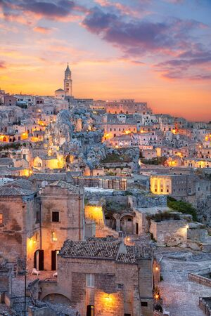 Matera. Cityscape aerial image of medieval city of Matera, Italy during beautiful sunset.
