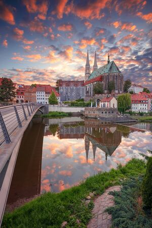 Gorlitz, Germany. Cityscape image of historical downtown of Gorlitz, Germany during dramatic sunset.
