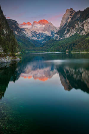 Gosausee, European Alps. Image of Gosausee, Austria located in European Alps at summer sunset. Stock Photo