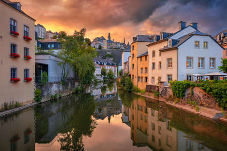 Luxembourg City, Luxembourg. Cityscape image of old town Luxembourg skyline during beautiful summer sunset. Stock Photo
