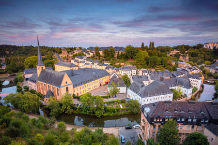 Luxembourg City. Aerial cityscape image of old town Luxembourg during beautiful summer sunset.