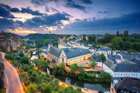 Luxembourg City. Aerial cityscape image of old town Luxembourg during beautiful summer sunrise.