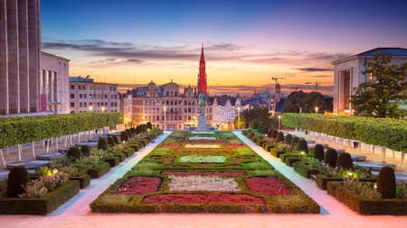 Brussels, Belgium. Panoramic cityscape image of Brussels with City Hall and Mount of the Arts area at sunset.