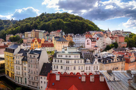 Karlovy Vary, Czech Republic. Aerial image of Karlovy Vary (Carlsbad), located in western Bohemia at beautiful sunny day.