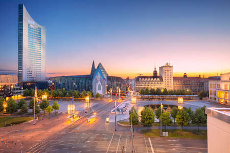 Leipzig, Germany. Cityscape image of Leipzig downtown during beautiful sunset.
