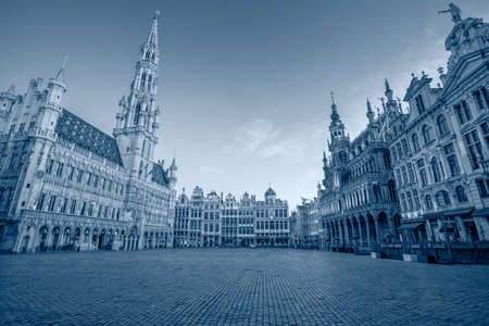 Brussels, Belgium. Toned cityscape image of Brussels with Grand Place at sunrise.