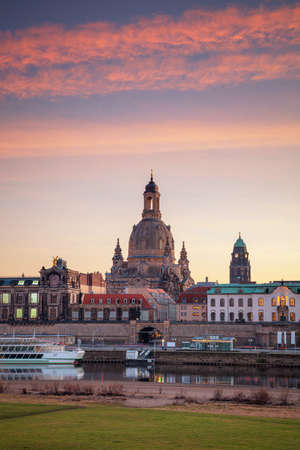 Dresden, Germany. Cityscape image of skyline Dresden, Germany with Dresden Cathedral during beautiful sunset.