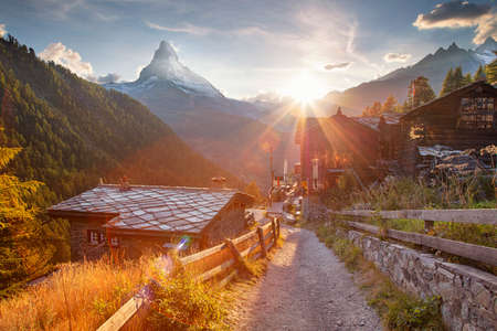 Swiss Alps. Landscape image of Swiss Alps with the Matterhorn during beautiful autumn sunset.