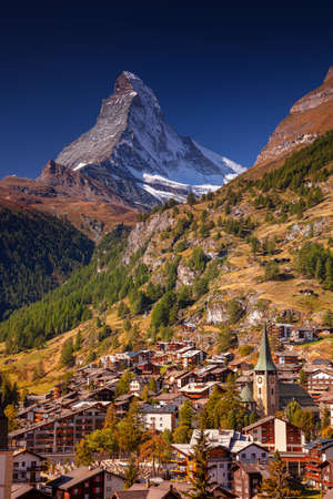 Zermatt. Image of iconic village of Zermatt, Switzerland with the Matterhorn in the background during beautifl sunny autumn day.