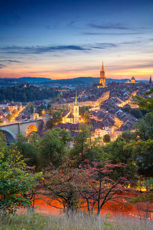 City of Bern. Cityscape image of downtown Bern, Switzerland during beautiful autumn sunset.