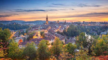 City of Bern. Panoramic cityscape image of downtown Bern, Switzerland during beautiful autumn sunset.