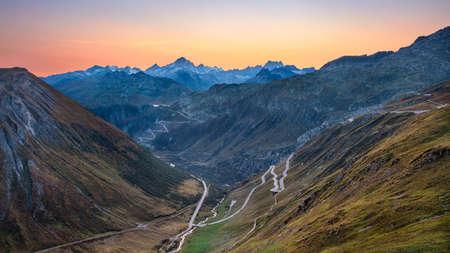 Furka Pass, Swiss Alps. Landscape image of Furka Pass, Switzerland at autumn sunset.
