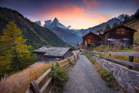 Matterhorn, Swiss Alps. Landscape image of Swiss Alps with the Matterhorn during beautiful autumn sunset.