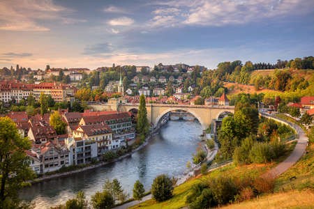 City of Bern. Cityscape image of the capital city of Bern, Switzerland during beautiful autumn sunset.